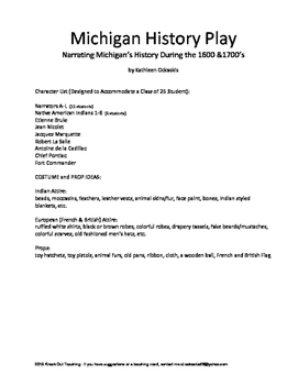 Michigan History Play Highlighting 1600s-1700s for Classroom Use