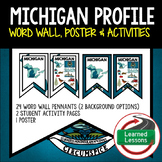 Michigan History Word Wall, State Profile, Activity Pages