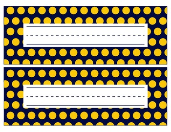 Michigan Inspired Blue and Gold Editable Name Plates/Desk Tags/Word Wall
