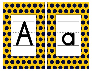 Michigan Inspired Blue and Maize Alphabet & Number Cards for Word Walls-Editable