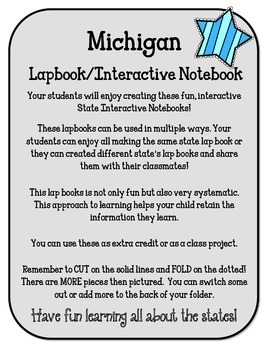Michigan Lapbook/Interactive Notebook.  US State History and Geography