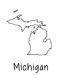 Michigan Map Coloring Page Craft - Lots of Room for Note-T