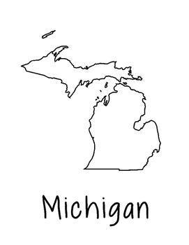 Michigan Map Coloring Page Activity - Lots of Room for Not