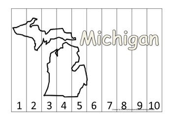 Michigan Number Sequence Puzzle.  Learn the States preschool printable game.
