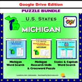 Michigan Puzzle BUNDLE - Word Search & Crossword Activities - US States - Google