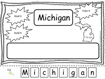 Michigan Read it, Build it, Color it Learn the States preschool worksheet.