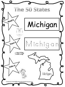 Michigan Read it, Trace it, Color it Learn the States preschool worksheeet.