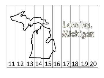 Michigan State Capitol Number Sequence Puzzle 11-20.  Geography and Numbers.