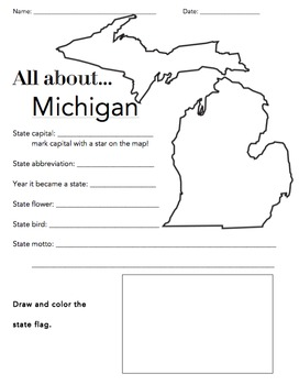 Michigan State Facts Worksheet: Elementary Version