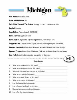 Michigan State Information & Worksheet