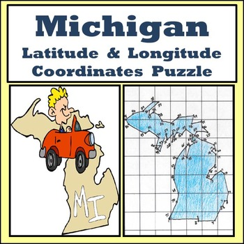 Michigan State Latitude and Longitude Coordinates Puzzle - 71 Points to Plot