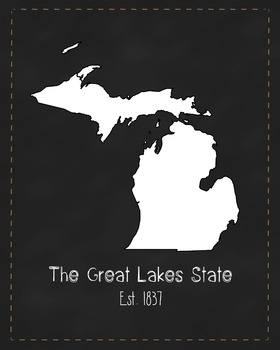 Michigan State Map Class Decor, Government, Geography, Black and White Design