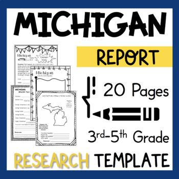 Michigan State Research Report Project Template + bonus timeline Craftivity MI
