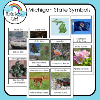 Michigan State Symbols Cards