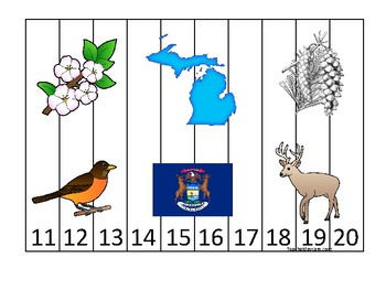 Michigan State Symbols themed 11-20 Number Sequence Puzzle Game. Preschool