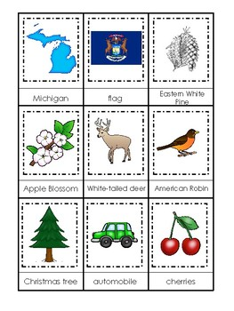 Michigan State Symbols themed 3 Part Matching Game. Preschool Card Game.