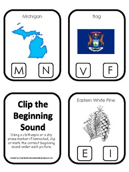 Michigan State Symbols themed Beginning Sounds Clip It Game. Preschool Game
