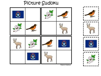 Michigan State Symbols themed Picture Sudoku Game. Preschool Game