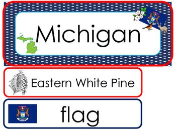 Michigan State Word Wall Bulletin Board Set. Geography Curriculum.