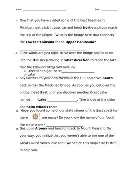 Michigan Unit - Map Scavenger Hunt (Customizable Version)