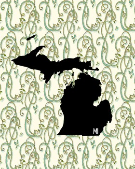 Michigan Vintage State Map or Poster Class Decor, Classroom Decoration
