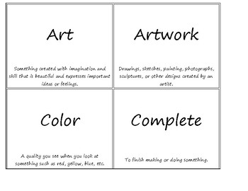 Michigan Visual Arts Standards Vocabulary Cards with Definitions Sample
