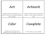 Michigan Visual Arts Standards Vocabulary Cards with Defin