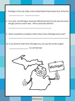 Michigan Wacky Facts Webquest - Informational Reading Research Worksheets