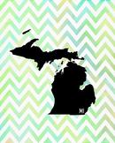 Michigan Chevron State Map Class Decor, Government, Geography