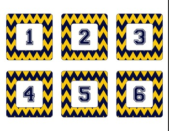 Michigan Wolverines Inspired Maize and Blue Chevron Calendar Pieces-Editable
