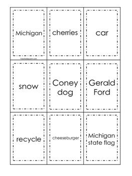 Michigan themed Memory Matching and Word Matching preschool curriculum game.