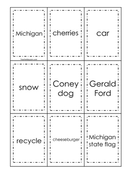 Michigan themed Memory Matching and Word Matching preschool curriculum game