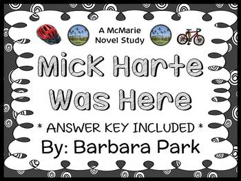 Mick Harte Was Here (Barbara Park) Novel Study / Reading Comprehension Unit