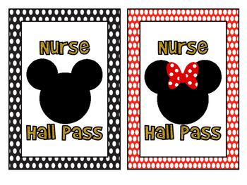 Mickey and Minnie Hall Pass Set