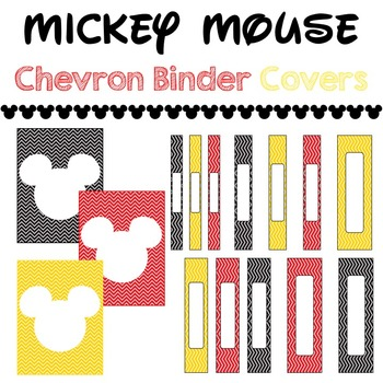Binder Covers & Spines Mickey Mouse Chevron Theme Red Yellow Black White