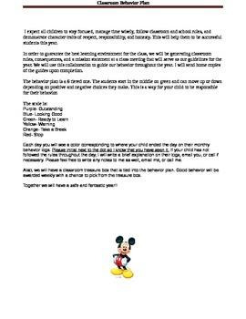 Mickey Classroom Behavior Plan