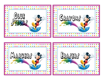 Mickey Classroom Supplies Labels