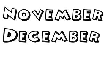 Mickey Font Calendar Months