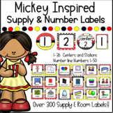 Mickey Mouse INSPIRED Supply Room & Number Labels - Classroom Decor