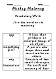 Mickey Maloney Vocabulary Work
