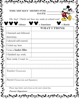 Mickey Memo- a weekly Mickey Mouse themed behavior note to