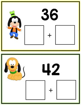 Mickey Minnie Mouse Expanded Form Math File Folder Game Place Value Tens & Ones