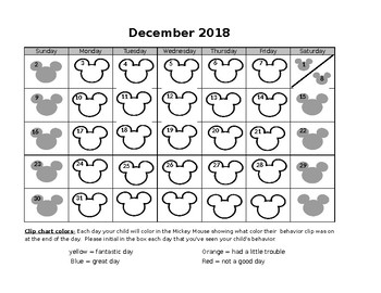 Mickey Mouse 2017-2018 behavior chart calendar