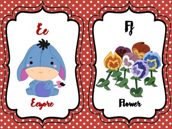 Mickey Mouse Alphabet Cards, Winnie the Pooh Alphabet Cards, Disney Alphabet