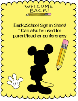 Mickey Mouse Back2School Sign in Sheet