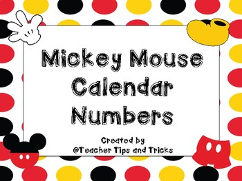 Mickey Mouse Calendar Numbers