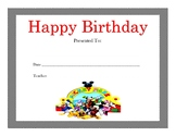 Mickey Mouse Club House Birthday Certificates (Includes 5 Certificates)