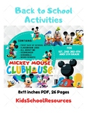 Mickey Mouse Clubhouse Back To School Activities- First Day of School Activities