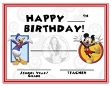 Mickey Mouse & Donald Duck Theme - Happy Birthday - Birthday Certificate