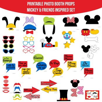 Mickey Mouse & Friends Inspired Printable Photo Booth Prop Set